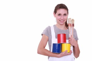 3518453-girl-with-three-cans-of-paint